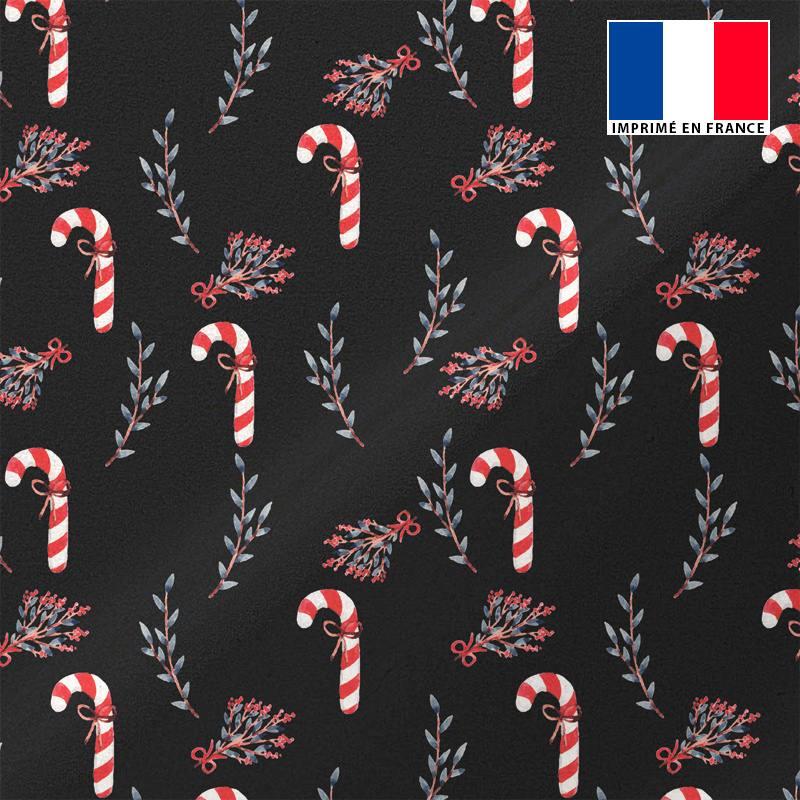 Maille scuba noire motif canne à sucre et baie de Noël