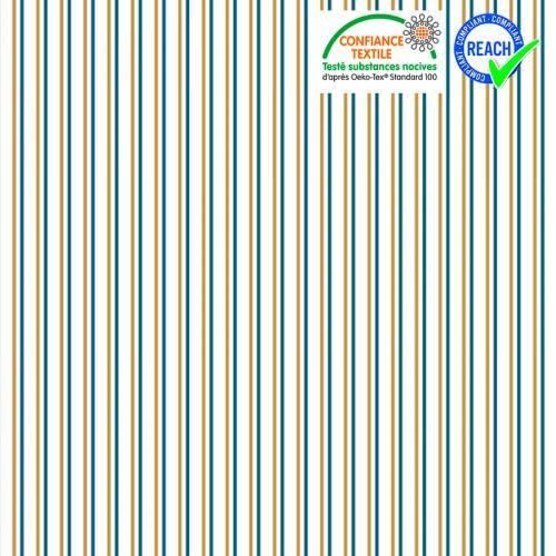 Coton blanc rayé bleu de prusse et ocre