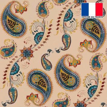 Tissu microfibre beige motif cachemire vintage