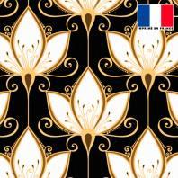 Tissu occultant noir motif art déco lys