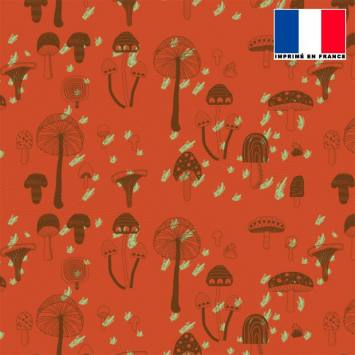 Mousseline orange motif champignon marron