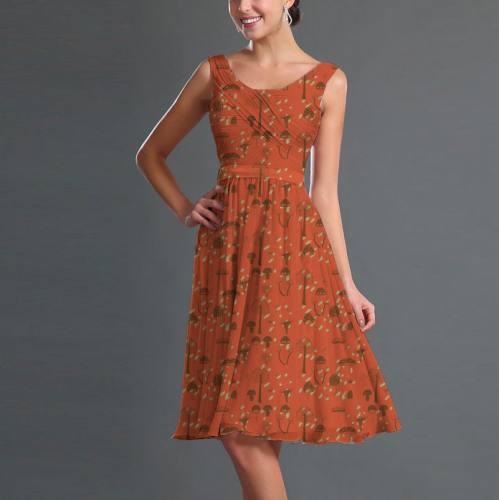 Mousseline orange motif champignon marron
