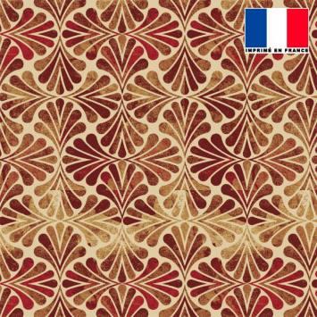 Mousseline beige motif art nouveau brique