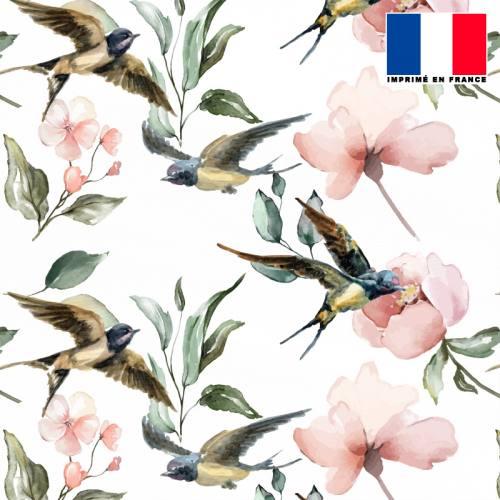 Mousseline crêpe écrue motif hirondelle rose pêche