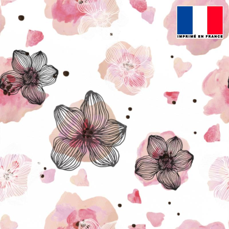 Mousseline écrue motif fleur aquarelle rose