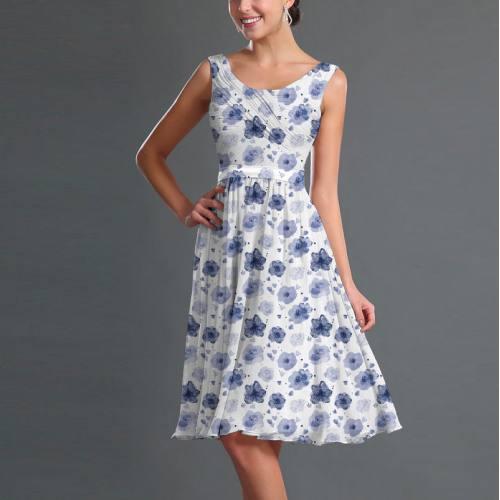 Mousseline écrue motif fleur aquarelle bleu lavande