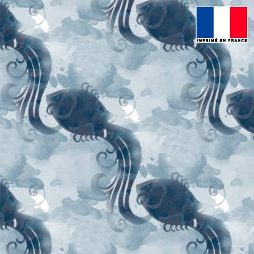 Mousseline crêpe bleue motif poisson