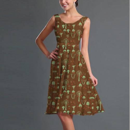 Mousseline marron motif champignon vert
