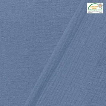 coupon - Coupon 50cm - Double gaze unie bleu jean