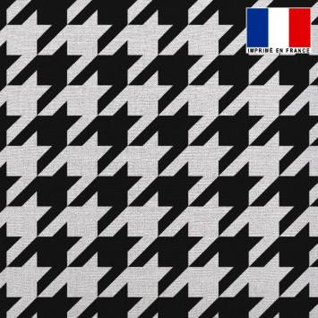 Tissu lainage caban motif pied de coq noir et blanc réversible