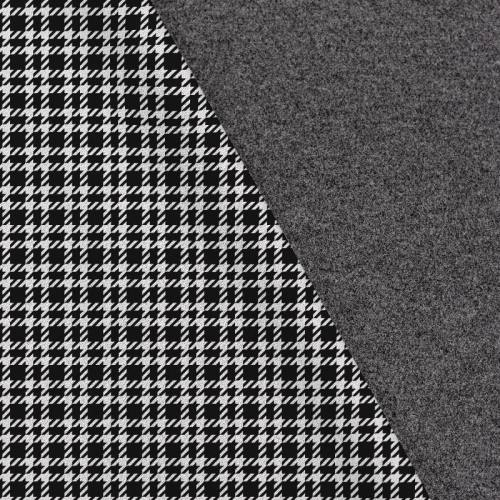 Tissu lainage caban motif pied de poule noir et blanc réversible