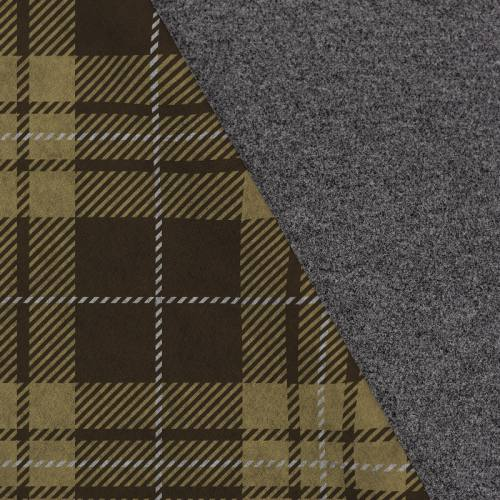 Tissu lainage caban motif tartan vert kaki réversible