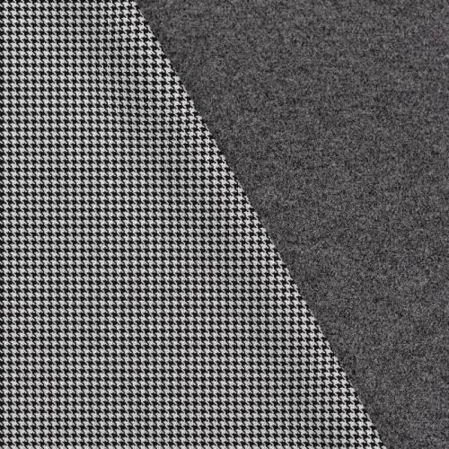 Tissu lainage caban motif petit pied de poule noir et blanc réversible