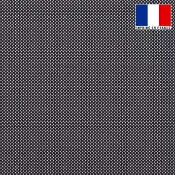 Tissu lainage caban motif pois noir et blanc réversible gris