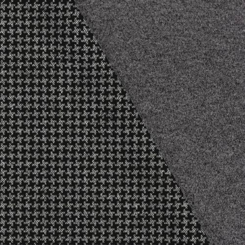 Tissu lainage caban motif pied de poule noir et gris réversible gris
