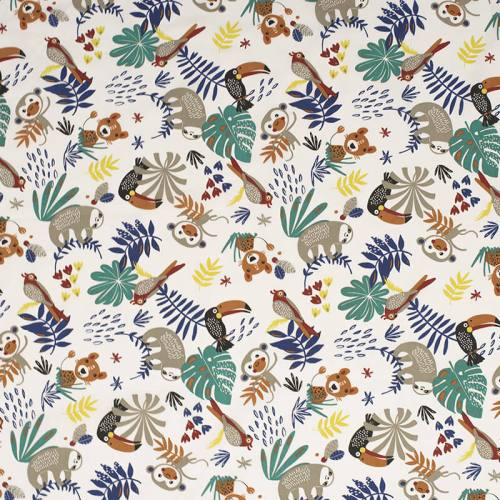 Coton blanc motif animaux de la jungle marron et feuille tropicale papaya