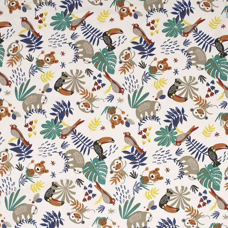 Coton bleu et vert motif animaux de la jungle et feuille tropicale payadi