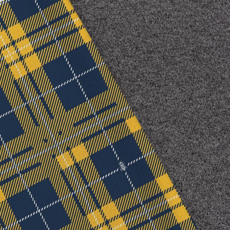 Tissu lainage caban motif tartan bleu et jaune réversible gris