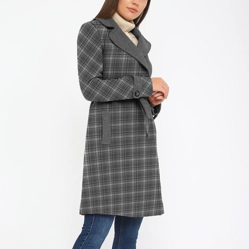 Tissu lainage caban motif tartan noir et blanc réversible gris
