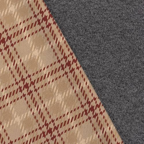 Tissu lainage caban motif tartan pied de poule camel réversible