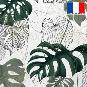 Tissu occultant écru motif jungle vert dessin et réaliste