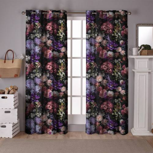 Tissu occultant noir motif dark flower photography