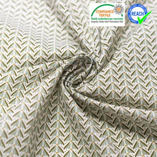 Coton blanc motif forme végétale vert céleste