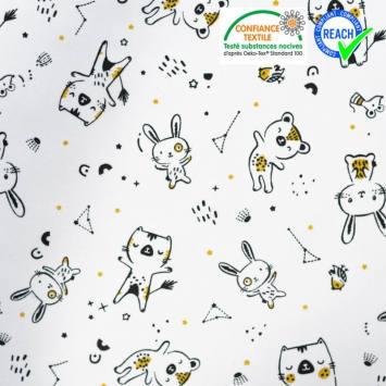 Coton blanc motif ourson ocre