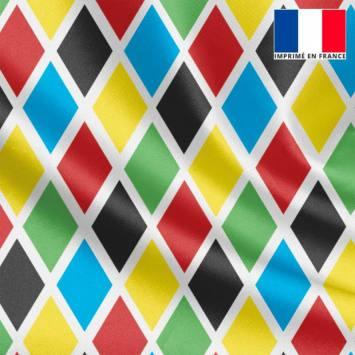 Tissu satiné multicolore imprimé arlequin