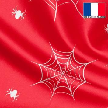 Tissu satiné rouge imprimé super-héros araignée