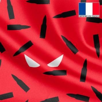Tissu satiné rouge et noir imprimé masque