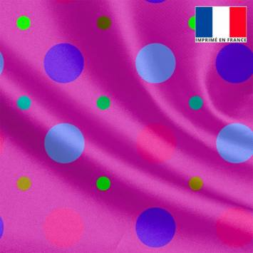 Tissu satiné violet imprimé pois rose et bleu