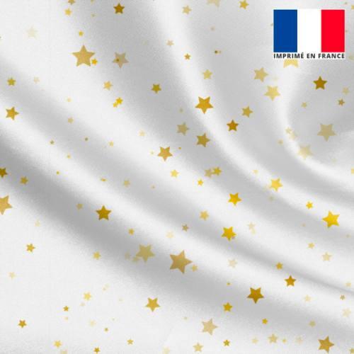 Tissu satiné écru imprimé étoiles dorées