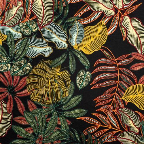 Jersey viscose noir motif feuille jaune rouge verte