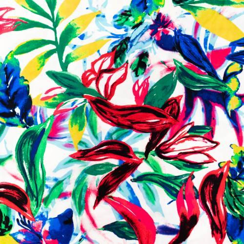 Tissu viscose écru motif fleur effet peinture