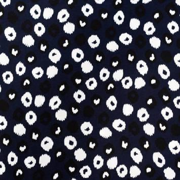 Tissu viscose bleu nuit motif rond dessin léopard noir et blanc
