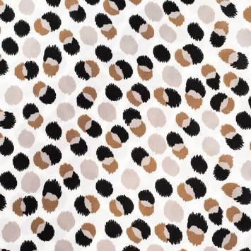 Tissu viscose écru motif rond taupe et noir