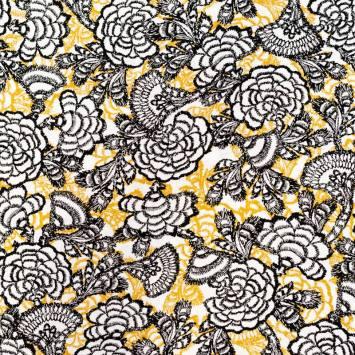 Tissu viscose ocre motif fleur