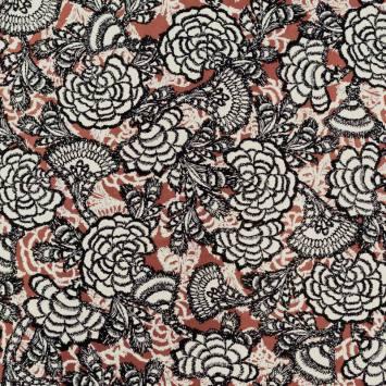 Tissu viscose brique motif fleur