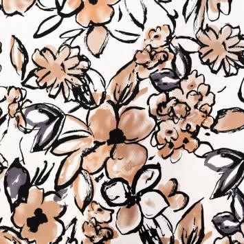 Satin de coton extensible écru motif fleur marron et grise