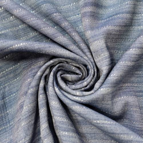 Tissu viscose bleu jean à rayures brillantes