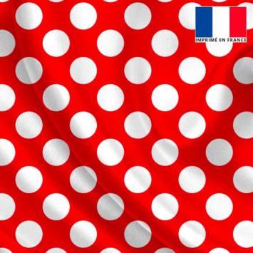 Tissu satiné rouge imprimé pois moyen blanc