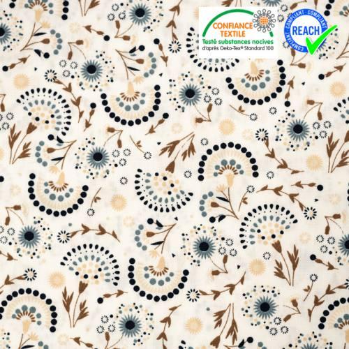 Popeline de coton écru imprimé fleuri