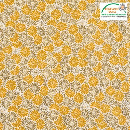 Coton ocre imprimé fleur brillant