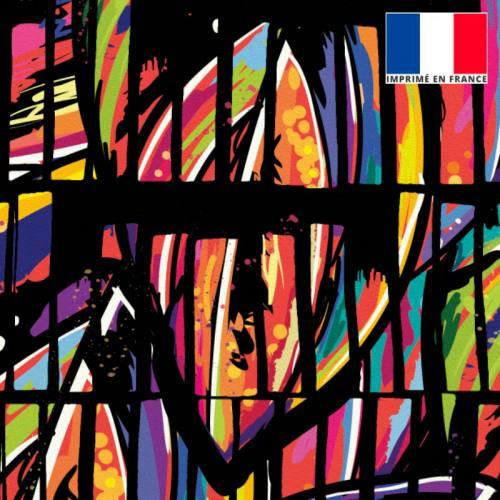 Velours ras noir motif bambou multicolore hachuré noir