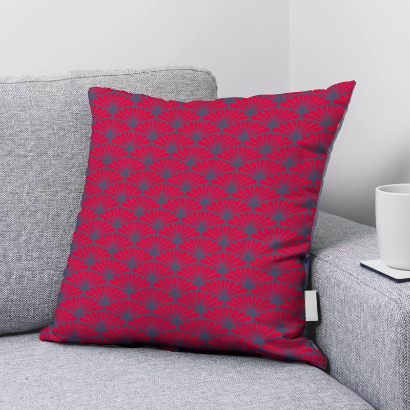 Velours bleu turquin motif éventail pétale rouge