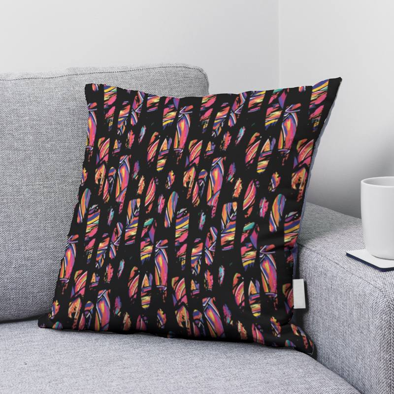 Velours ras noir motif jungle multicolore hachuré noir
