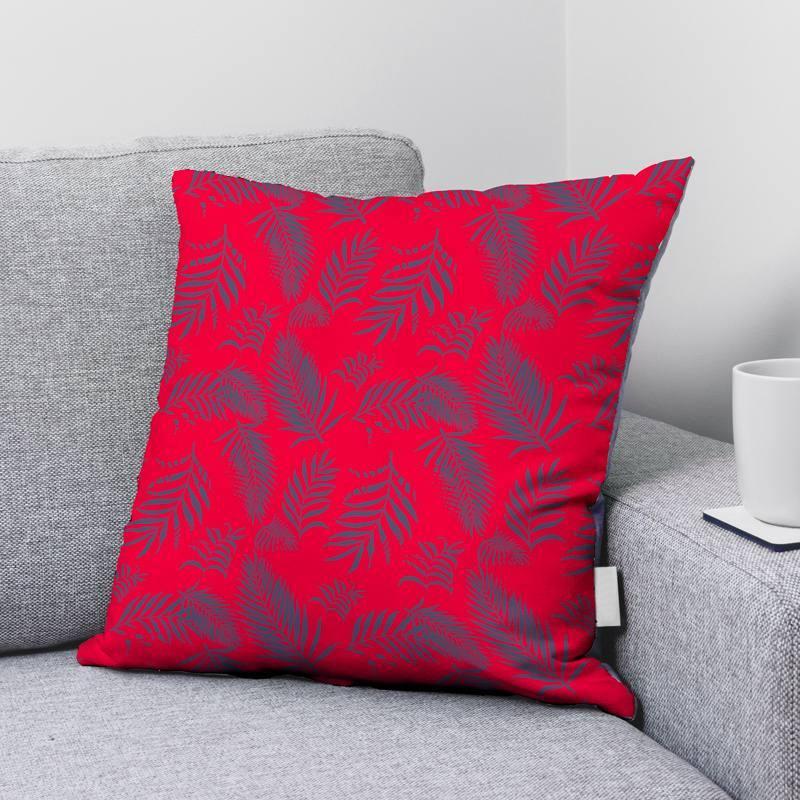 Velours ras rouge vif imprimé feuille de palmier bleu turquin