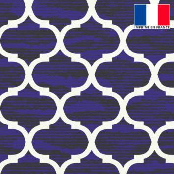Velours ras bleu majorelle imprimé design contemporain écru