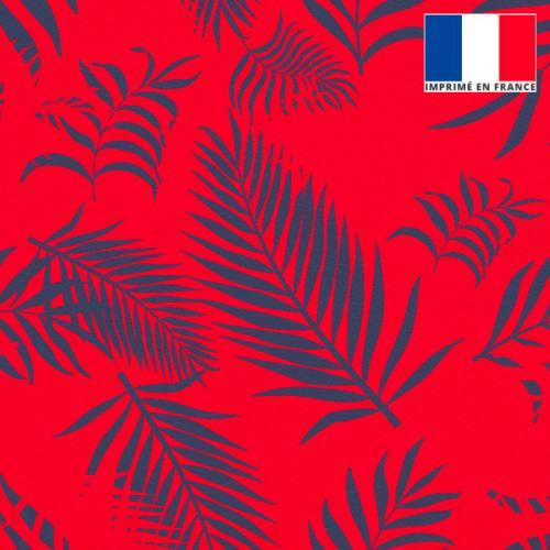 Velours rouge vif imprimé feuille de palmier bleu turquin